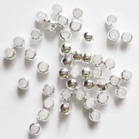500 Silver plated 2x1.5mm Round Crimp beads